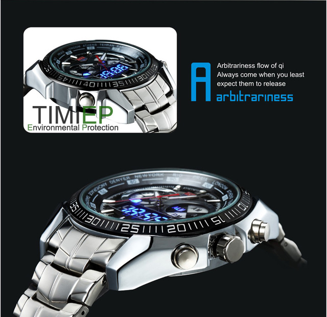 TVG 2018 Hight Quality Stainless Steel Black Men's Clock Fashion Blue Binary LED Pointer Mens 30AM Waterproof Sport Watch