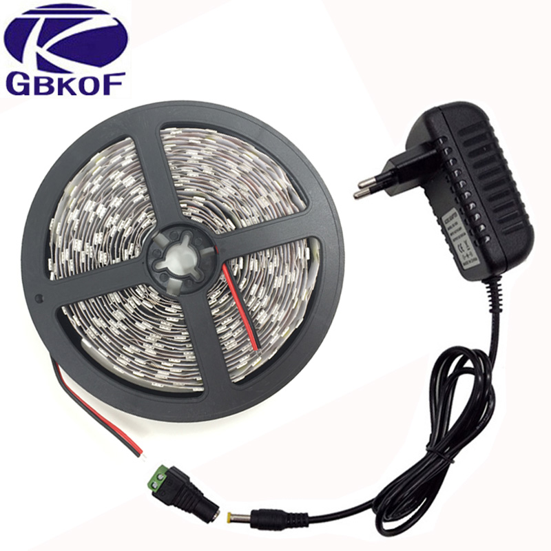 1Pack 5M Single Color White/ Warm White 300 LEDs SMD 5050 LED Strip Light + DC Female Adapter + DC 12V 3A Power Supply Adapter