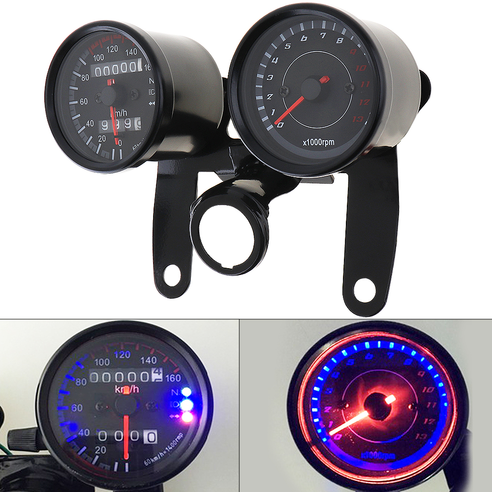 12V Motorcycle scooter black led Odometer Speedometer gauge and 13000RPM Tachometer for Cafe Racer Suzuki Honda Kawasaki old school motorcycle gauges