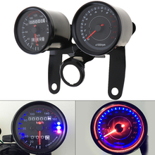 цена на 12V Motorcycle scooter black led Odometer Speedometer gauge and 13000RPM Tachometer for Cafe Racer Suzuki Honda Kawasaki