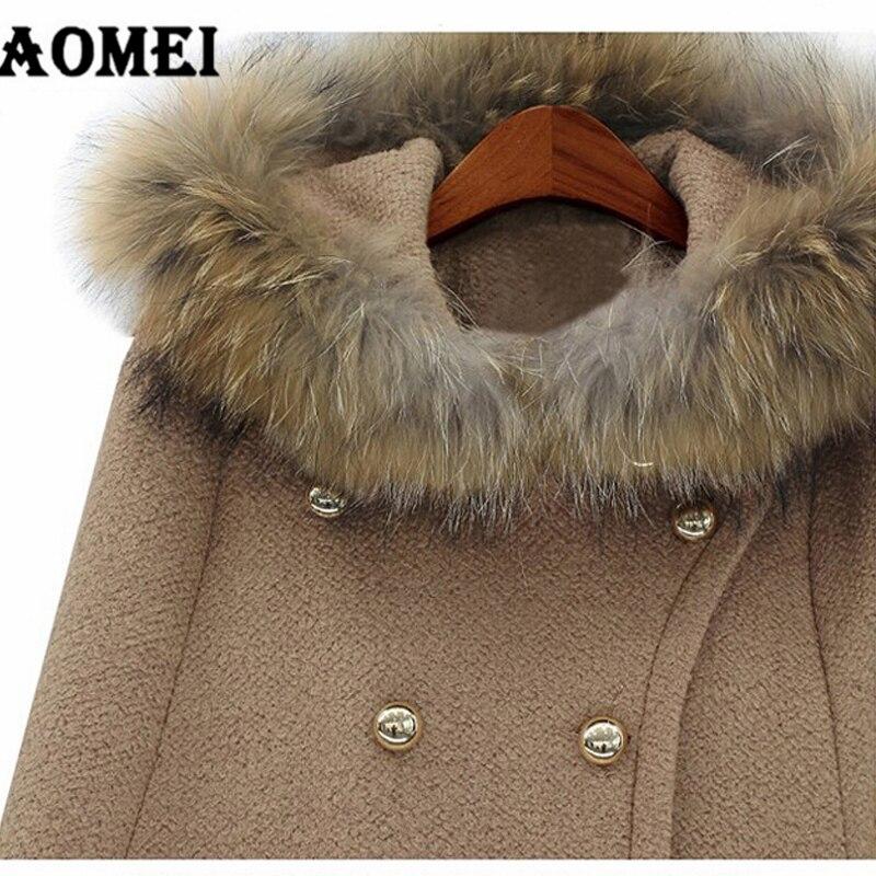 Меховая шапка Осенне-зимняя Дамская обувь шерстяные Outcoats женские пальто, плащ, верхняя одежда теплые модные свободные красный манто Femme Двойные кнопки накидка