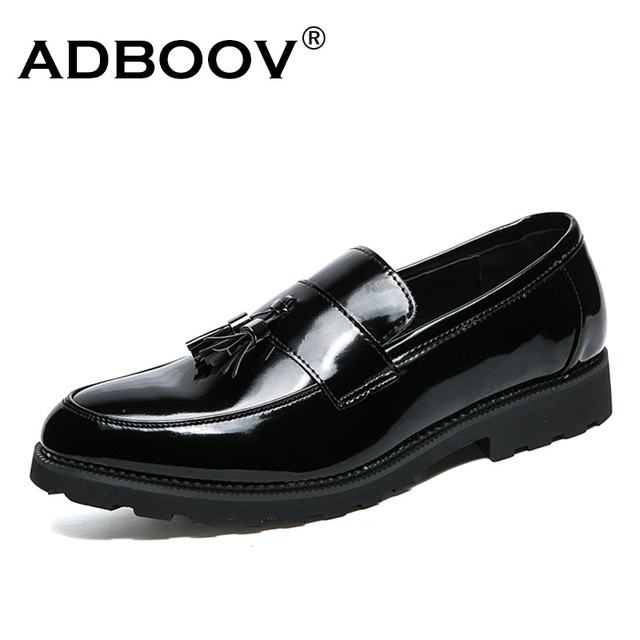 ADBOOV Patent Leather Shoes Men Tassel Penny Loafers Black Casual Shoes  Fashion Man Moccasin Party Shoes dc745075981c