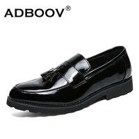 Adboov براءات أحذية جلدية الرجال شرابة قرش متعطل أسود عارضة أزياء الرجل الخف أحذية حزب