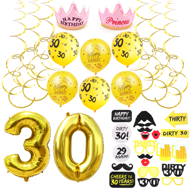 30 Years Old Balloons 30th Birthday Party Decorations Adult Gold Anniversary Happy Decoration Favors