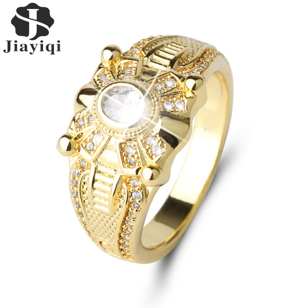 Fashion Full Off Crystal Gold Color Ring Men Jewelry Luxury Cubic Zirconia Wedding