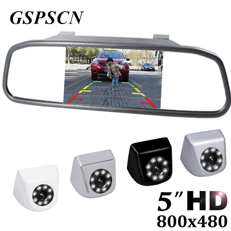 GSPSCN HD Metal Car Rear View Camera Parking Backup Reverse Cameras + Auto mirror Monitor 5 inch HD 800*480 TFT LCD Car Monitor zenhosit 300pcs female male brass copper m3 hex column spacer threaded screw nut pillars knurled standoff spacer kit