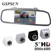 GSPSCN HD Metal Car Rear View Camera Parking Backup Reverse Cameras Auto Mirror Monitor 5 Inch