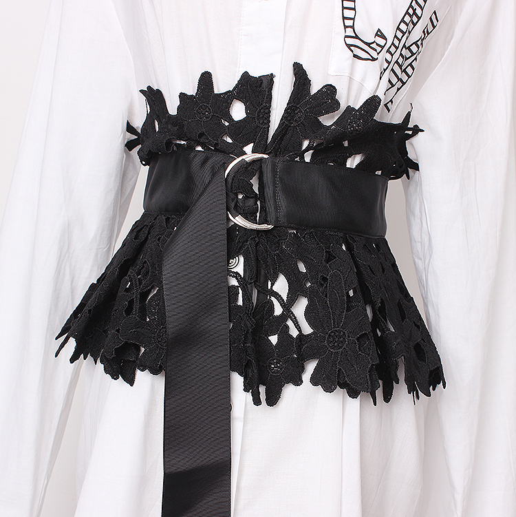 Women's Runway Fashion Lace Cummerbunds Female Dress Corsets Waistband Belts Decoration Wide Belt R1367