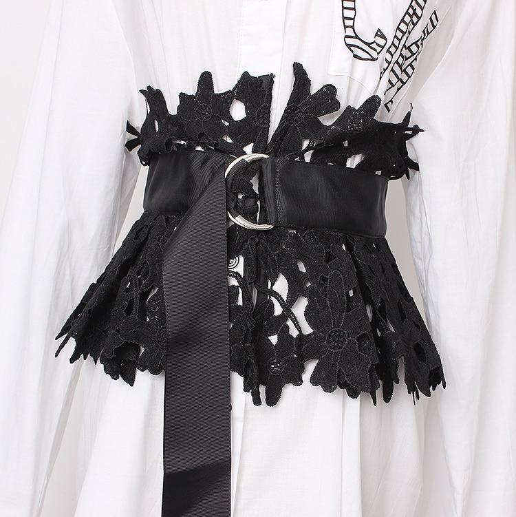 Women's Runway Fashion Lace Cummerbunds Female Dress Corsets Waistband Belts Decoration Wide Belt R1367