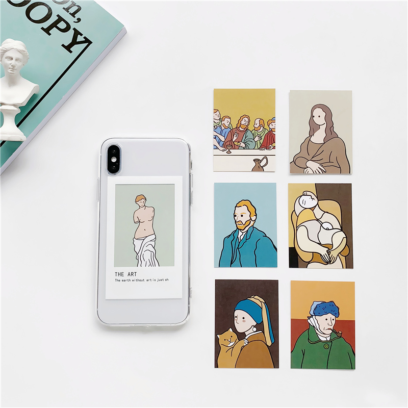 Oil painting card clear TPU phone Case For iphone XS Max X XR 11 Pro Max for iphone 6 6s 7 8 plus Photo frame case back cover in Fitted Cases from Cellphones Telecommunications
