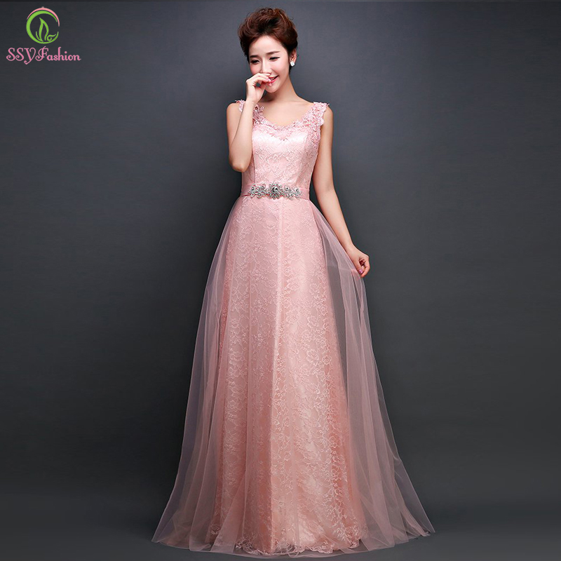 Robe De Soriee New Simple Wedding Dress Full Sleeve Lace: Robe De Soiree Pink Lace Long Evening Dresses 2016 New