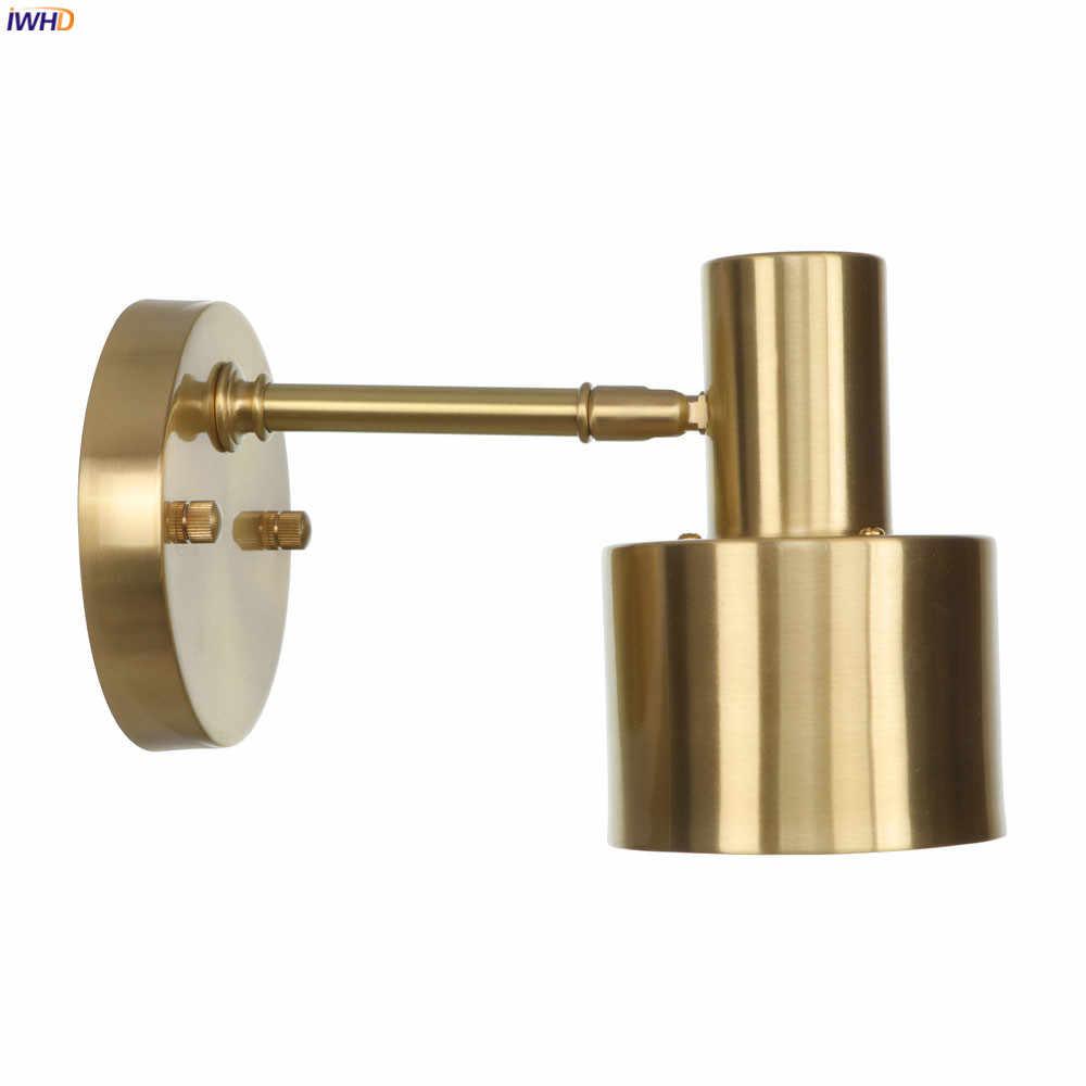 IWHD скандинавские винтажные медные светодиодный настенные светильники лестничная площадка зеркало для ванны шар настенный светильник бра Aplique Luz Pared