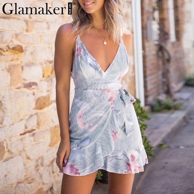 Glamaker floral Dress Glamaker Striped print bodycon party beach dress Women deep v neck ruffle  floral print sexy dress club bandage mini summer dress
