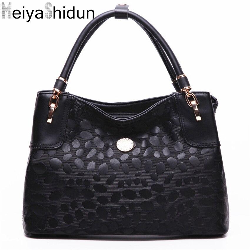 ФОТО MeiyaShidun New European and American women bag printing handbag brand leather shoulder bag casual tote top-hand bolsas feminina
