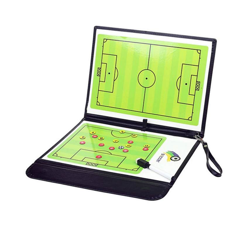 Football Tactics Board Coach Board Foldable Football Coach Setting Book With Pen Magnetic Clipboard Football Supplies