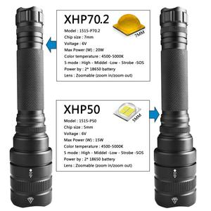 Image 2 - Z201515 XHP70.2 xhp50 強力な LED 懐中電灯戦術ズームトーチ充電式ランタン 32000lm ランプ 18650 バッテリー懐中電灯