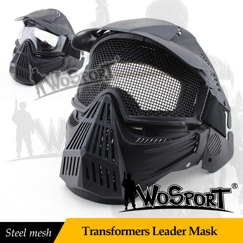 WoSporT Tactical Transformers Leader Mask Steel Mesh Breathable Full Face Safety CS Field Airsoft Wargame Paintball Army Masks