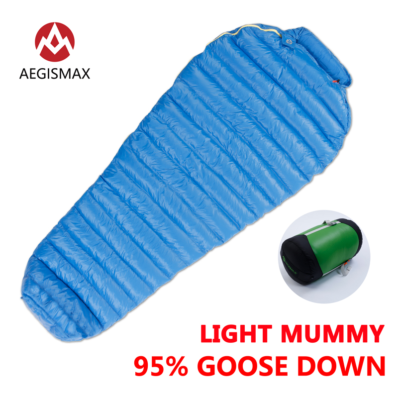 цены AEGISMAX Outdoor Camping M2-M2 Long 95% Goose Down Mummy Sleeping Bag Three-Season Down Lengthened Adult Nylon Sleeping Bag Lazy