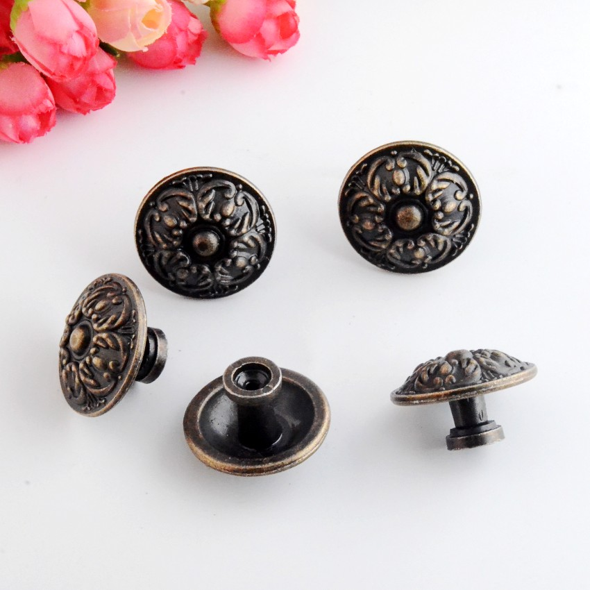 Free Shipping 4PCs Jewelry Wooden Box Pull Handle Dresser Drawer For Cabinet Door Round Antique Bronze 34x22mm J3148 200pcs 18 15mm hinge brass bronze color flat wholesale small hardware for wooden box case cabinet drawer door funiture fix