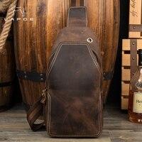 Lapoe Для мужчин Курьерские сумки Пояса из натуральной кожи сумки кросс Средства ухода за кожей плечо грудь Сумки пакеты Винтаж Crazy Horse кожаная