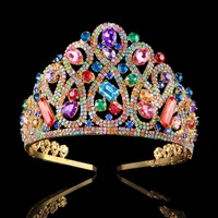High Quality Multicolor Cystal Bride Crown Gold Color Crown Wedding Hair Jewelry Ornaments Annual Meeting Props