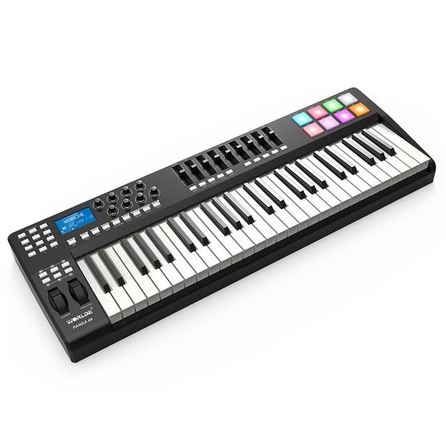 PANDA49 49 Key MIDI Keyboard  MIDI Control USB Controller MIDI Keyboard 8 Drum Pads with USB Cable White or RGB Light Backlit