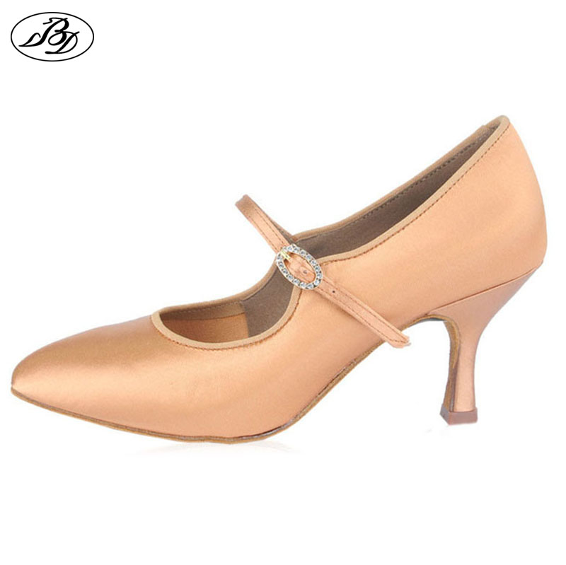 Women Ballroom BD Dance 137 MOON Tan Satin High Heel Ladies Standard Dancing Shoes Anti-Slip Outsole Dancesport