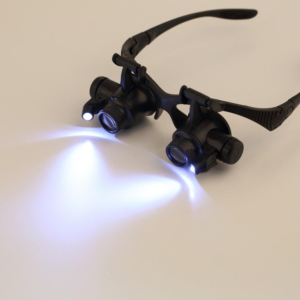 LED lupa Lupa Óculos com Luz de iluminação Dupla Olho 10X 15X 20X 25X  Jeweler de eb9d02e4ad