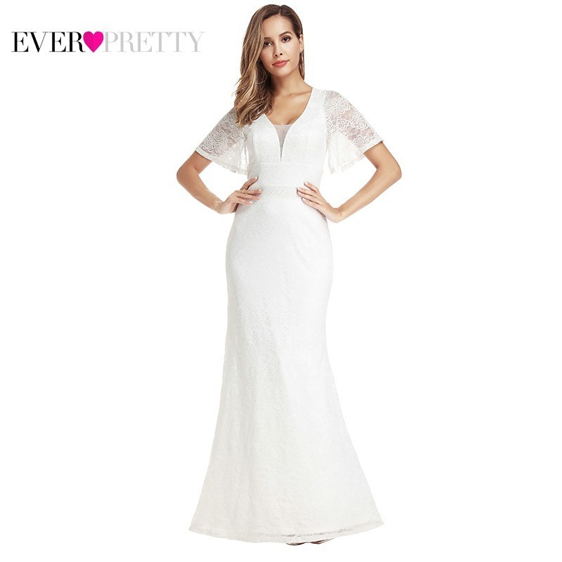 Ever Pretty Elegant Lace Mermaid Wedding Dresses V-Neck Short Sleeve Zipper Sexy Cheap Bride Dresses EP00917WH Vestido De Noiva