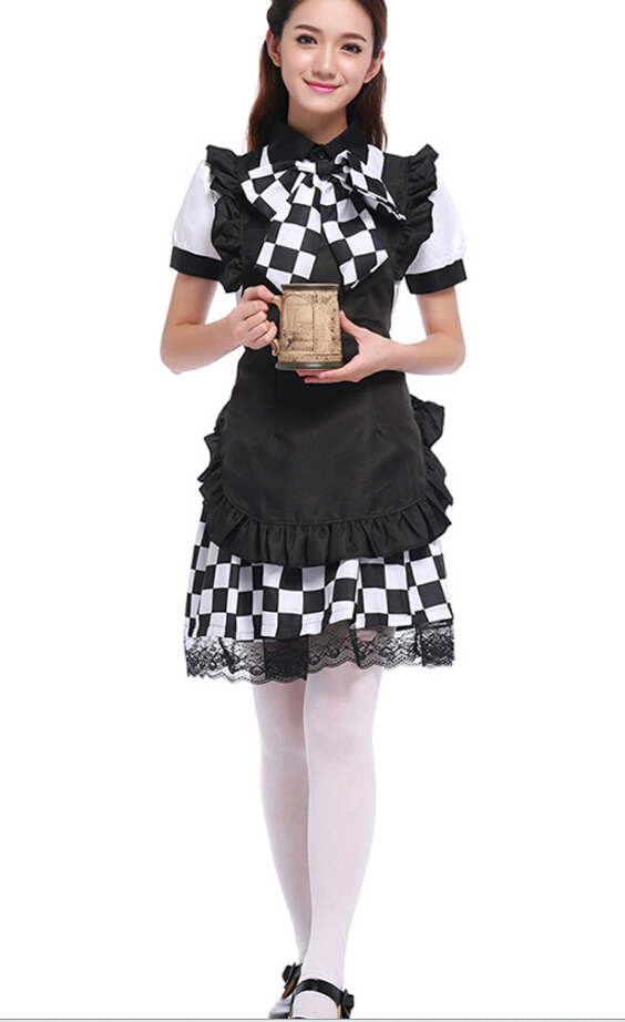 free shipping White and black battle dress Halloween costume maid cosplay costume Nyaruko costume S-XL