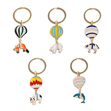 2019 New Hot Fashion Animal Bear Cattle Dolphin Air Balloon Feautiful Cute/Lovely Personalidad Women Jewelry Key Chains 6418