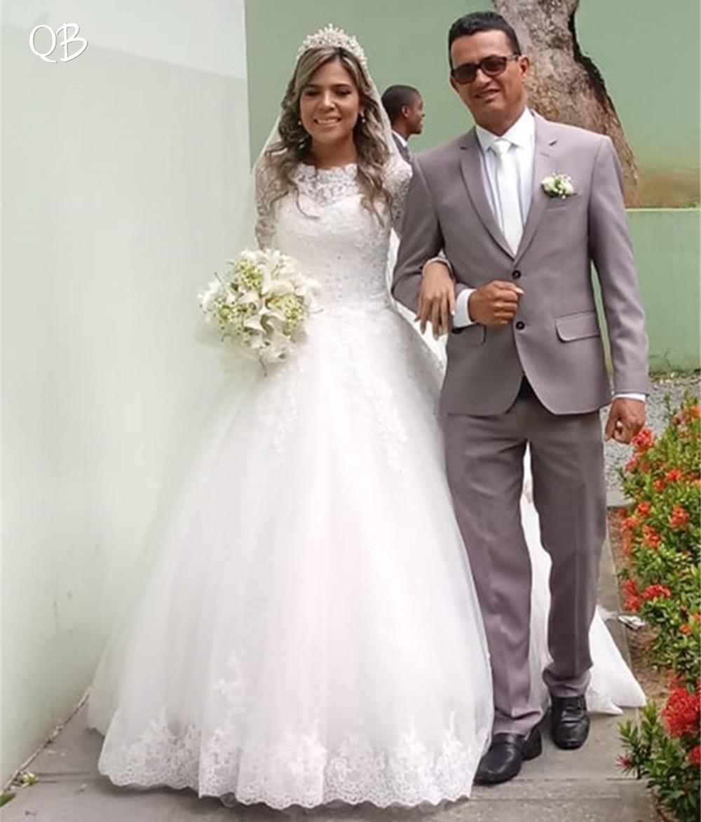 100% Réel Photo Princesse à manches longues Moelleux Tulle Dentelle Perlée En Cristal De Luxe Élégant robes de mariage robe de mariée Personnaliser XL14