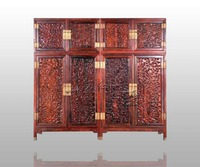 New Classical Antique Chinese Style Rosewood Wardrobe Home Bedroom Solid Wood Furniture Flat Sliding Door Closet
