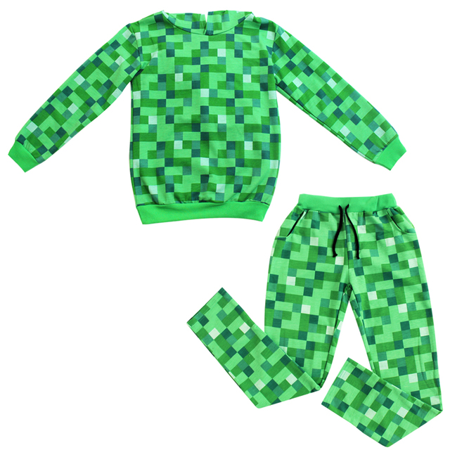Children Boys Minecraft Halloween Costume Teen Autumn Funny Green ...
