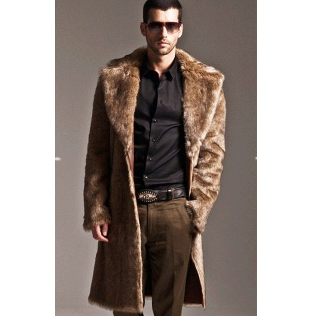 Fashion Outwear European Top Qualtiy Artificial fur Trench Coat Men Hot Fashion Long Trench Coat Men Stylish Winter Coat