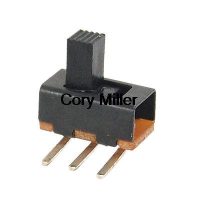 On-On 2 Position 1P2T SPDT PCB Mount Vertical Slide Switch 3 Pin SS12F21