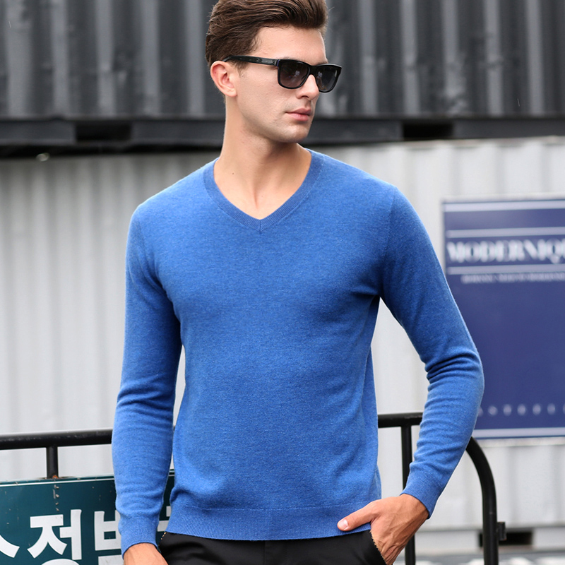 2016 New Autumn & Winter Men's Classic 100% Wool V- Neck Solid Color Slim Fit Basic Thin Knit Sweater