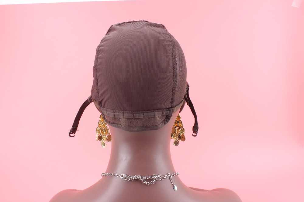 Top quality cheap price sew in human hair 3pcs\lot free ship brown adjustable lace wig cap side part as picture u part wig cap