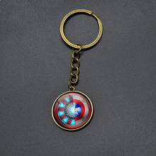 High Quality Avengers Iron Man Shield Pendant Key Chains Marvel Super Hero Keychain Anime Jewelry Cartoon Key Rings For Boy Girl
