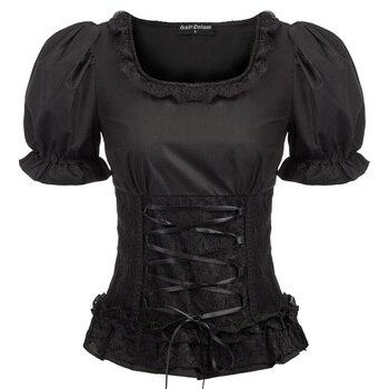 Camisa retro para mujer, blusa vintage, gótico renacimiento Steampunk, manga corta, encaje decorado con encaje, volantes, Tops ajustados fruncidos para mujer