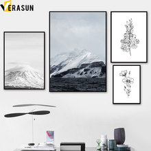 Black White Flower Snow Mountain Landscape Nordic Posters and Prints Wall Art Canvas Painting Picture for Living Room Decor