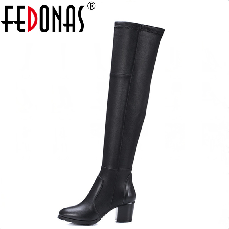 FEDONAS New Women Over The Knee High Boots High Heeled Autumn Winter Snow Boots Women Stretch Knight Long Boots Shoes Woman цены онлайн