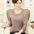 Мать одежда 2016 новых женщин осенью и зимой свитер свободно длинными рукав вязаный шерстяной рубашки основные свитер