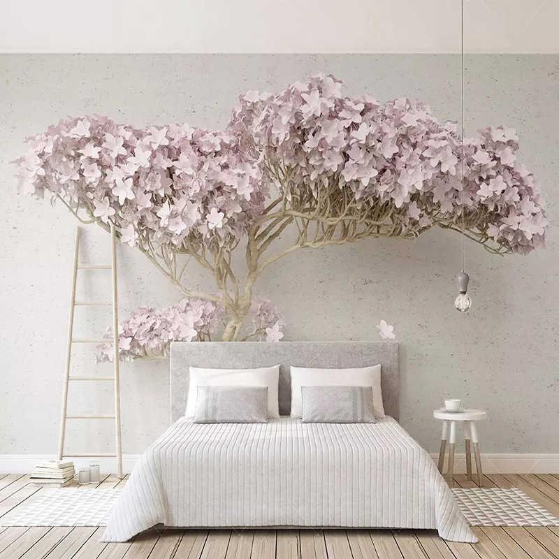 مخصص أي حجم جدارية خلفية الحديثة الأرجواني شجرة الصورة ورق حائط غرفة المعيشة التلفزيون أريكة غرفة نوم حائط الخلفية 3D انخفاض الشحن