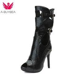 A-BUYBEA рыбы-чешуйки полые Для женщин летние середины икры сапоги-гладиаторы с пряжкой женские босоножки на высоком каблуке Пикантная обувь