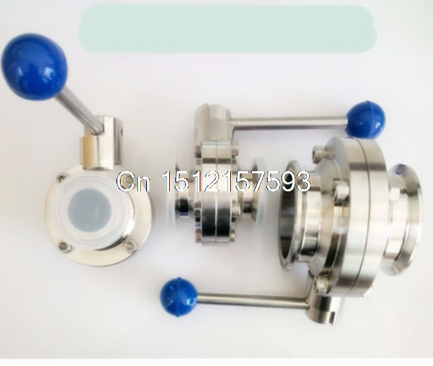 1 1/2 38mm New Sanitary Butterfly Valve SS304 Tri-Clamp Beer Dairy Product 3 1 2 ss 304 butterfly valve manual stainless steel butterfly valve sanitary butterfly valve welding butterfly