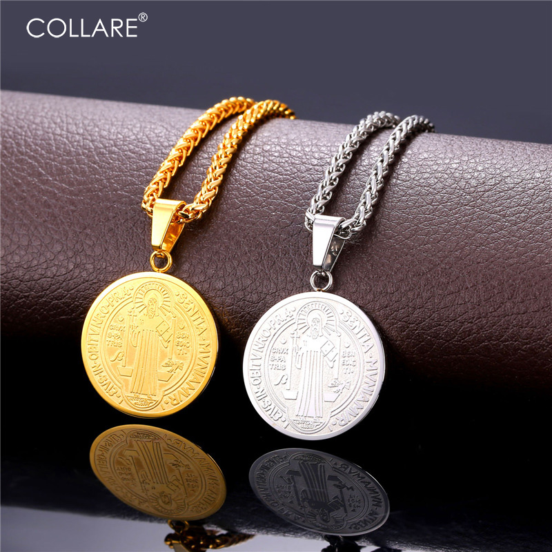 U7 Vintage Saint Benedict Medal Necklaces & Pendants Stainless Steel Gold Plated Religious Necklace Women Men Jewelry P157