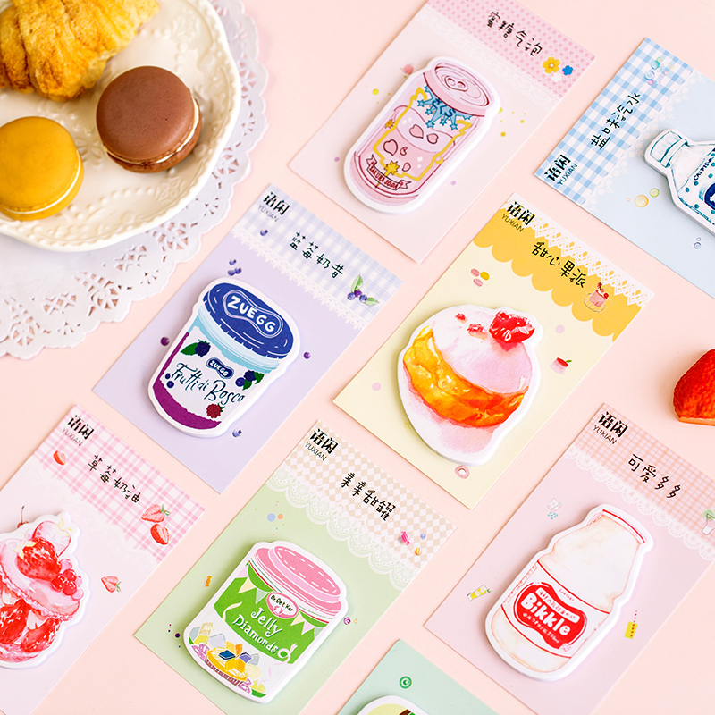 Creative Fruit Strawberry Drink Paper N Times Sticky Notes Memo Pad Planner Stickers Kawaii Stationery Notepad