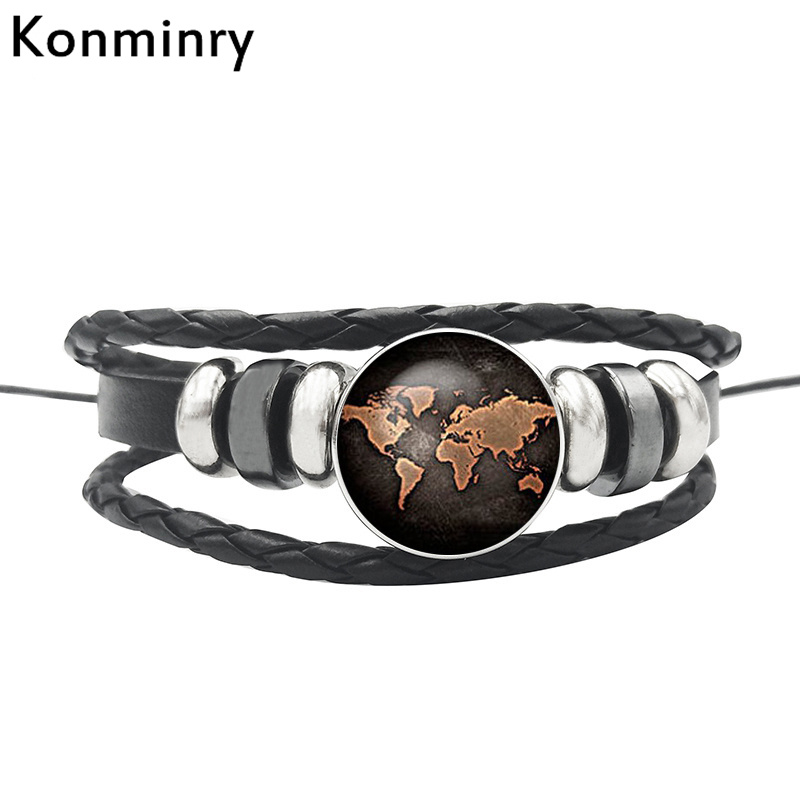 Konminry Vintage World Map Globe Leather Rope Bracelet Glass Dome Buttons Africa Bangle For Women Men Gifts Jewelry image