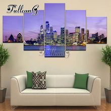 FULLCANG diy 3d mosaic full embroidery seaside city diamond painting 5 panel rhinestone needlework hobbies and crafts G1212